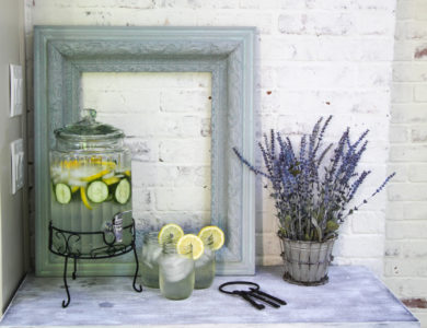 An Elegant White Washed Drinks Table
