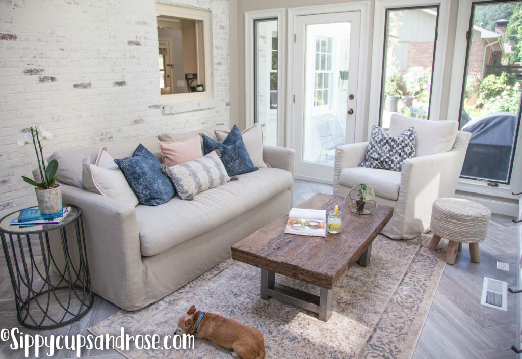 Sun Room Ideas: Our Sunroom Remodel Reveal by Atlanta blogger Anya from Sippy Cups and Rose