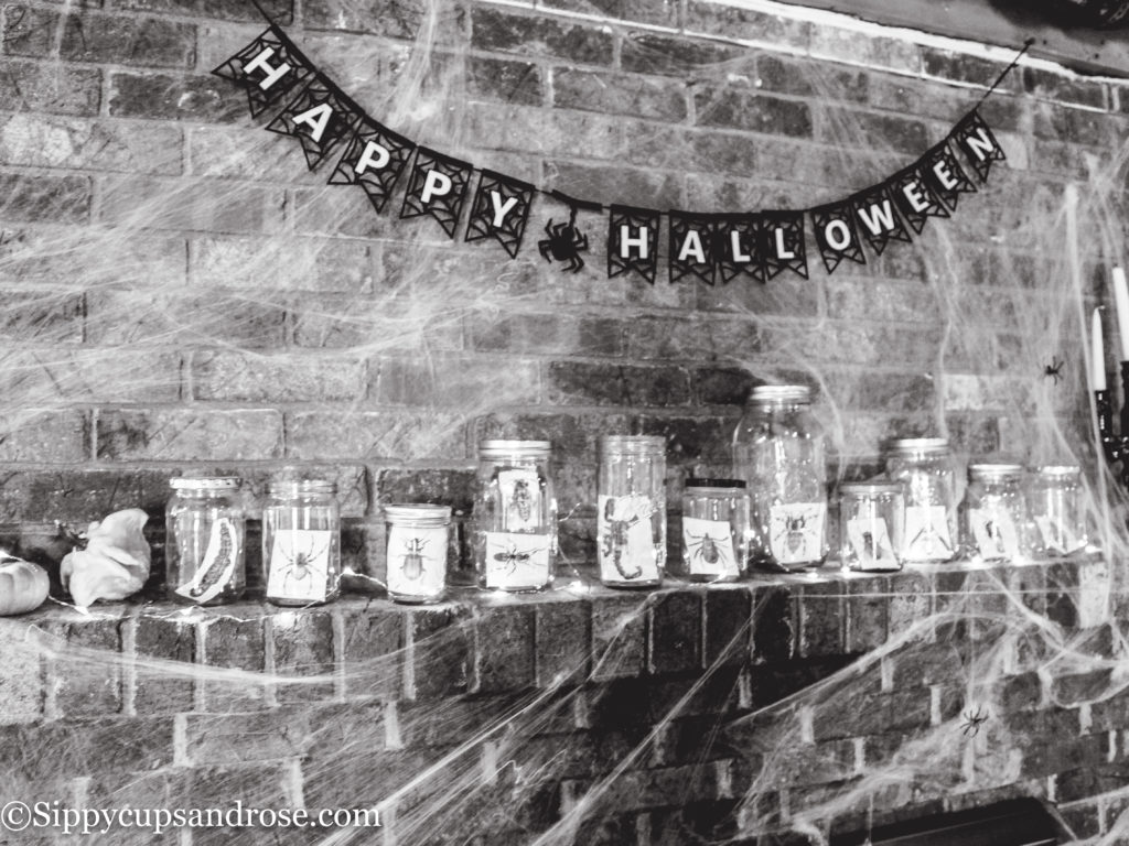 Halloween Decor Ideas - Fireplace Mantel by Atlanta lifestyle blogger Sippy Cups and Rose'
